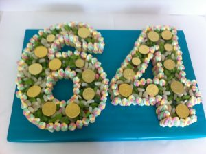 64th Birthday Cake Made of Sweets