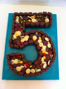 5th Birthday Boy Cake Made of Chocolate Sweets