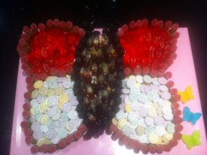 Butterfly cake made of sweets