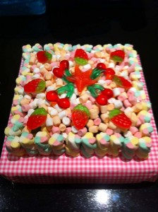 Flumps outer sweets inner cake made of sweets