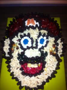 Super Mario cake made from sweets