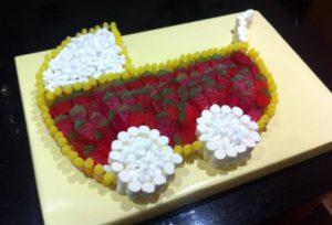 Babies pram made of sweets