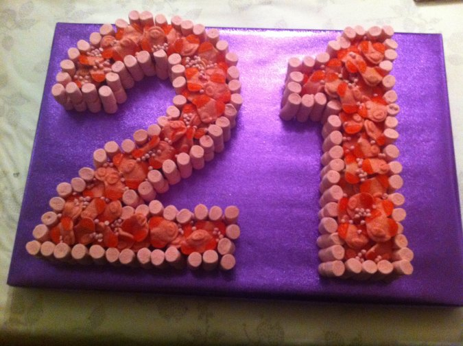 21st Birthday Cake of Sweets