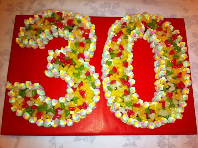Large 30th Birthday Sweet Cake Dartford Pre Filled Sweet Cones