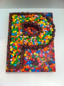 Letter P Made of Chocolate Sweets