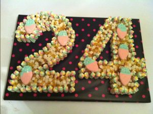 24th Birthday cake made of sweets