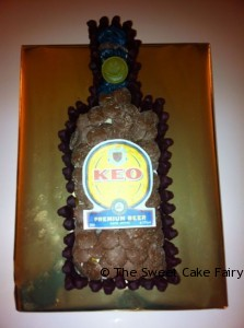 Bottle of Beer Cake Made of Sweets
